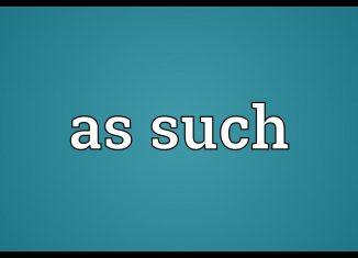 Significado de As Such